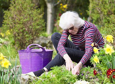 An elderly lady is shown enjoying some gardening